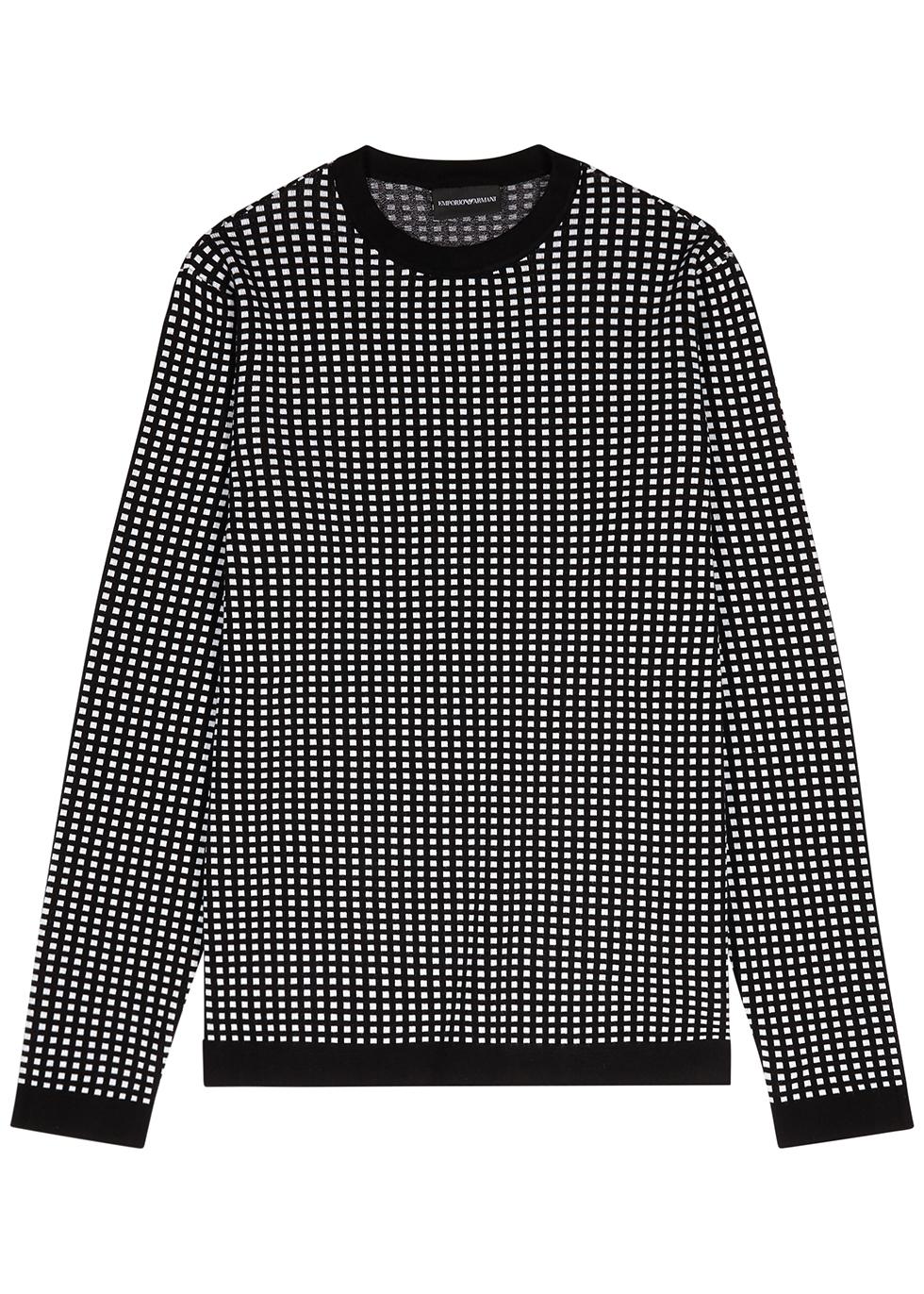 Monochrome checked-intarsia jumper