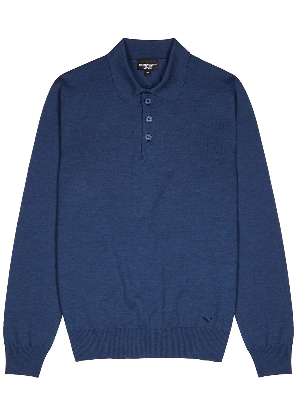 Blue fine-knit wool polo shirt