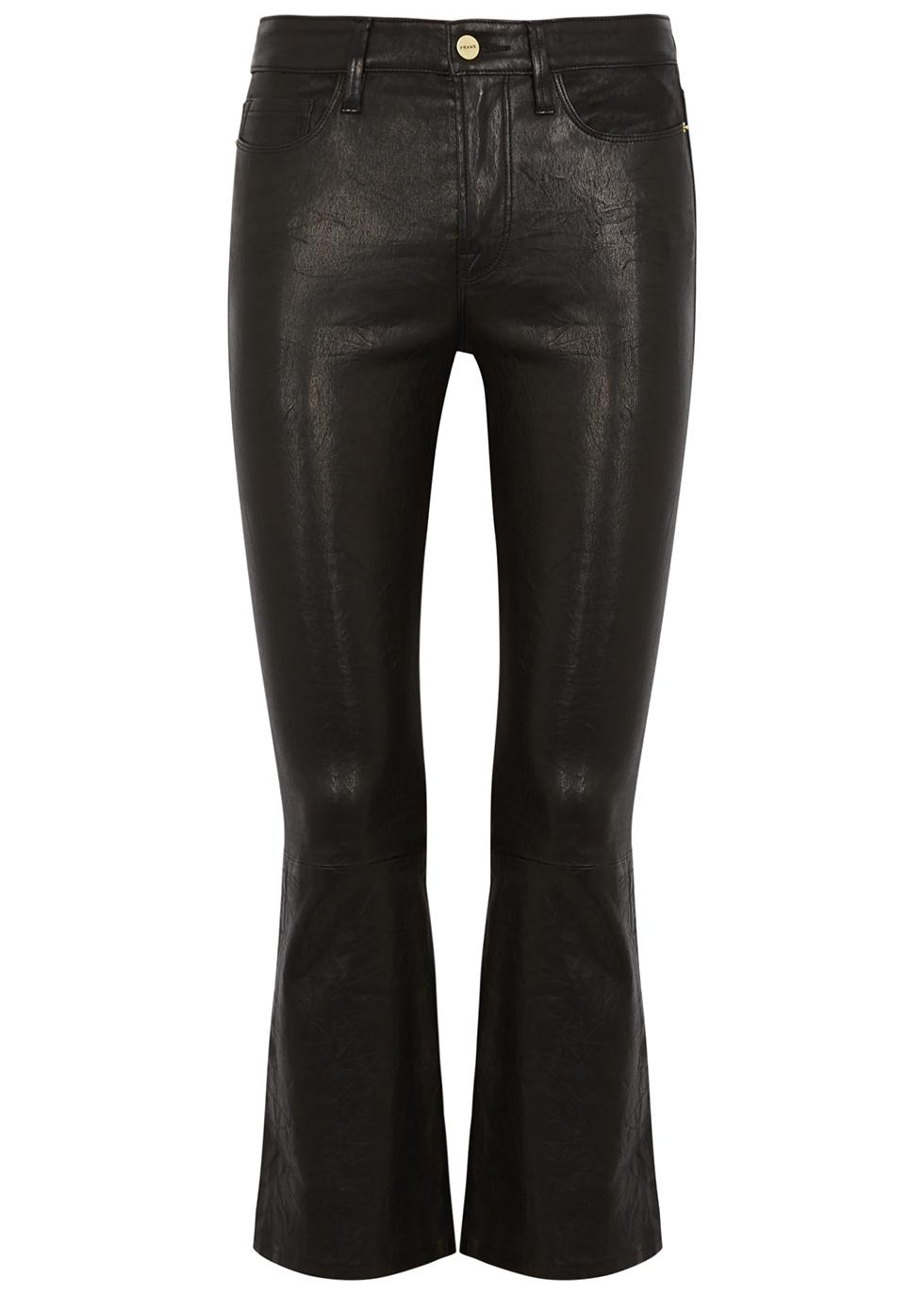 Le Crop Mini Boot black leather jeans