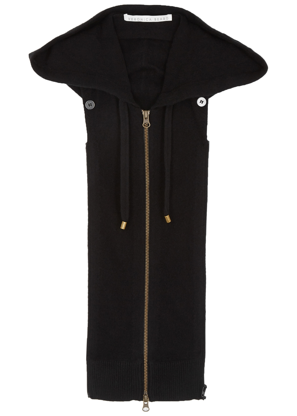 Black hooded cashmere dickey