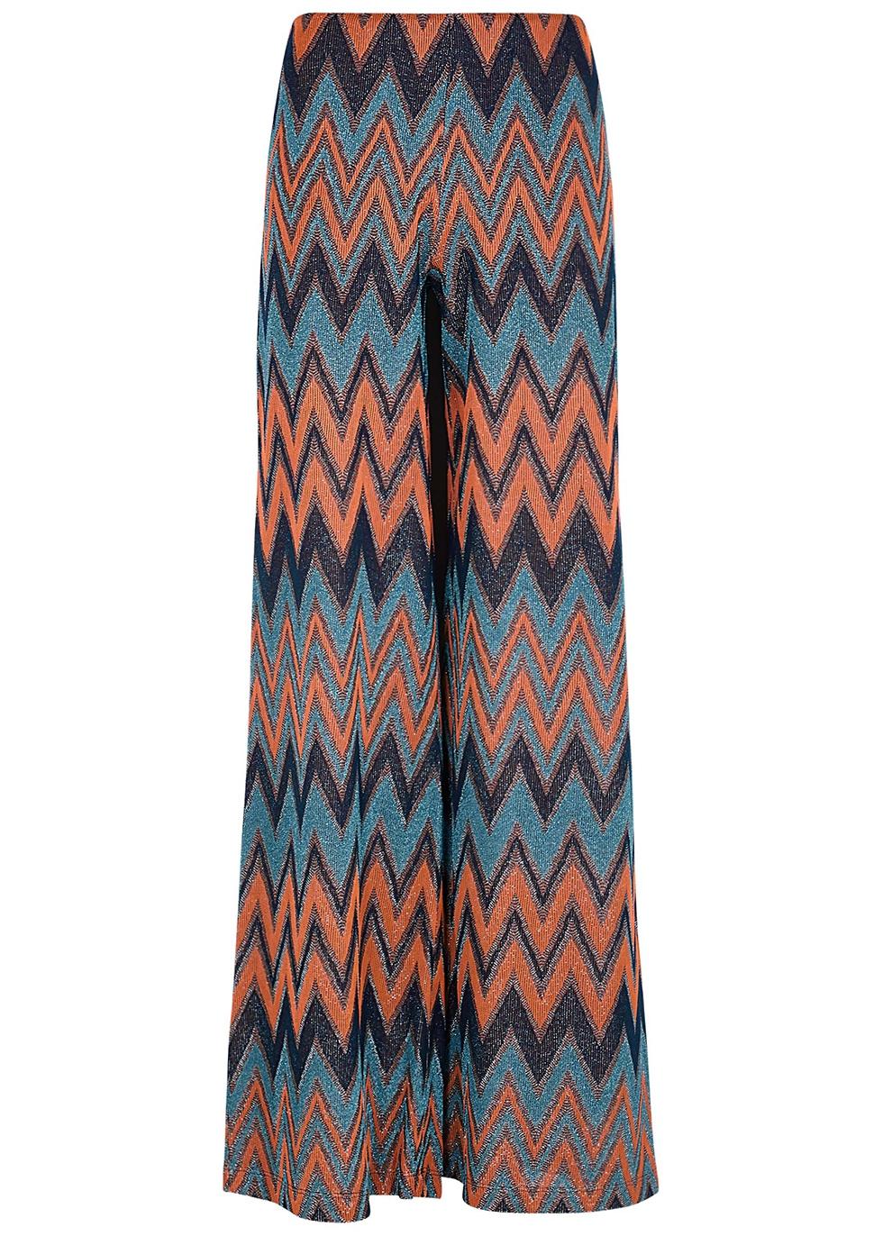 Zigzag-intarsia wide-leg trousers