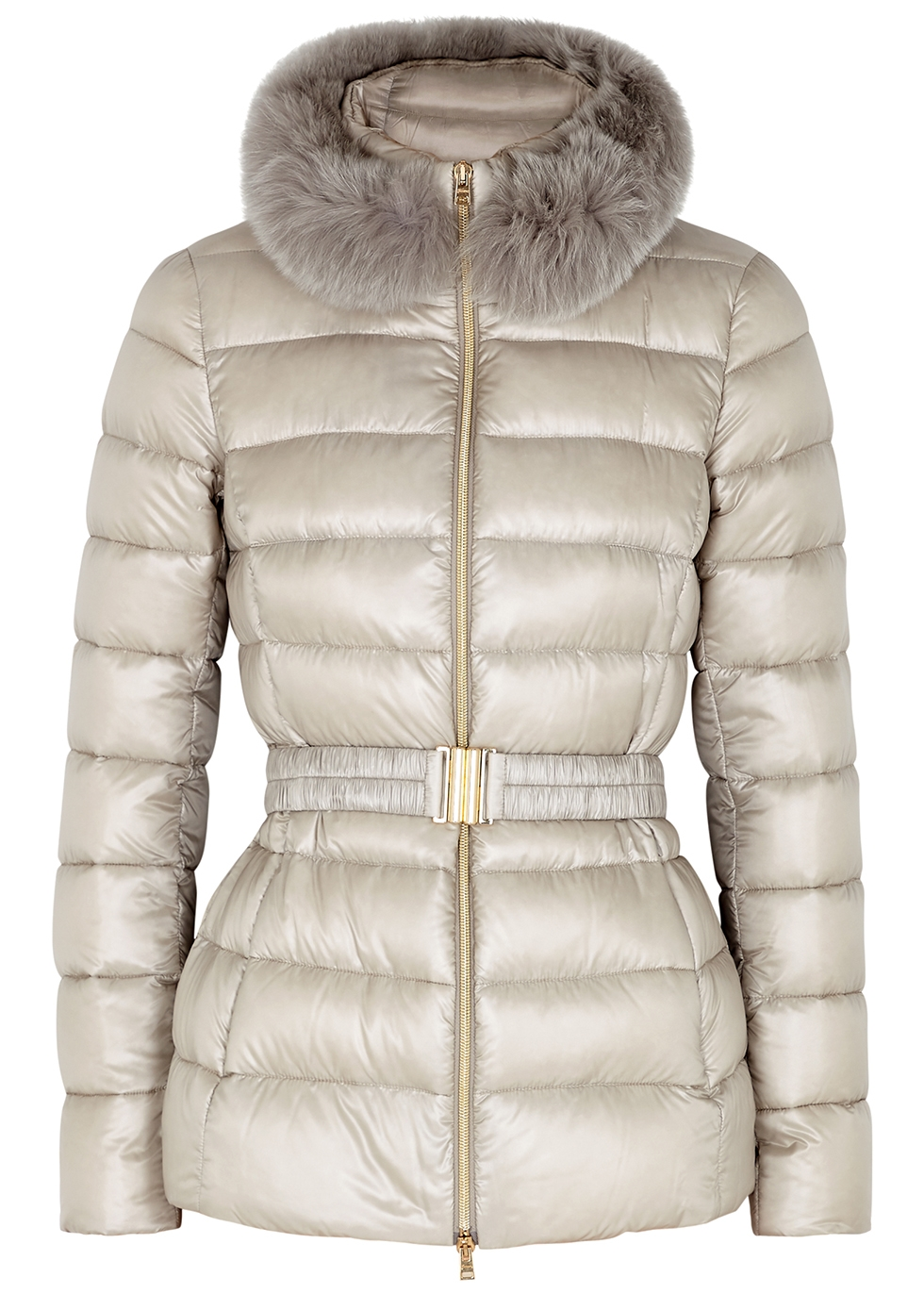 Claudia stone fur-trimmed quilted shell jacket