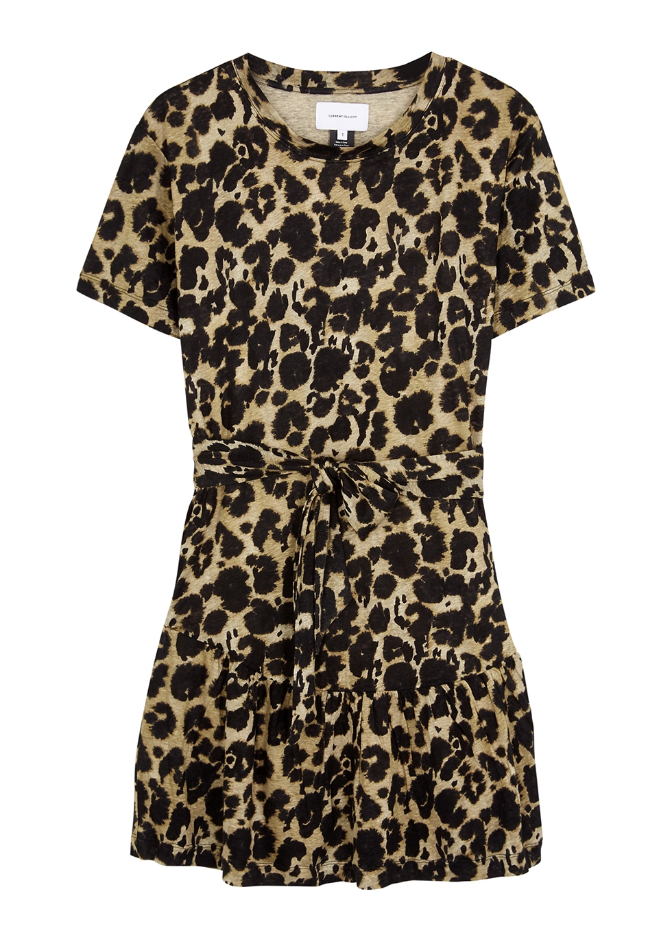 Crystal leopard-print linen dress