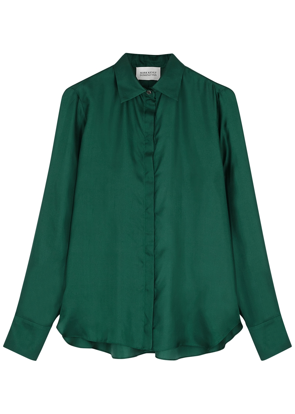 Bertine dark green silk-satin blouse