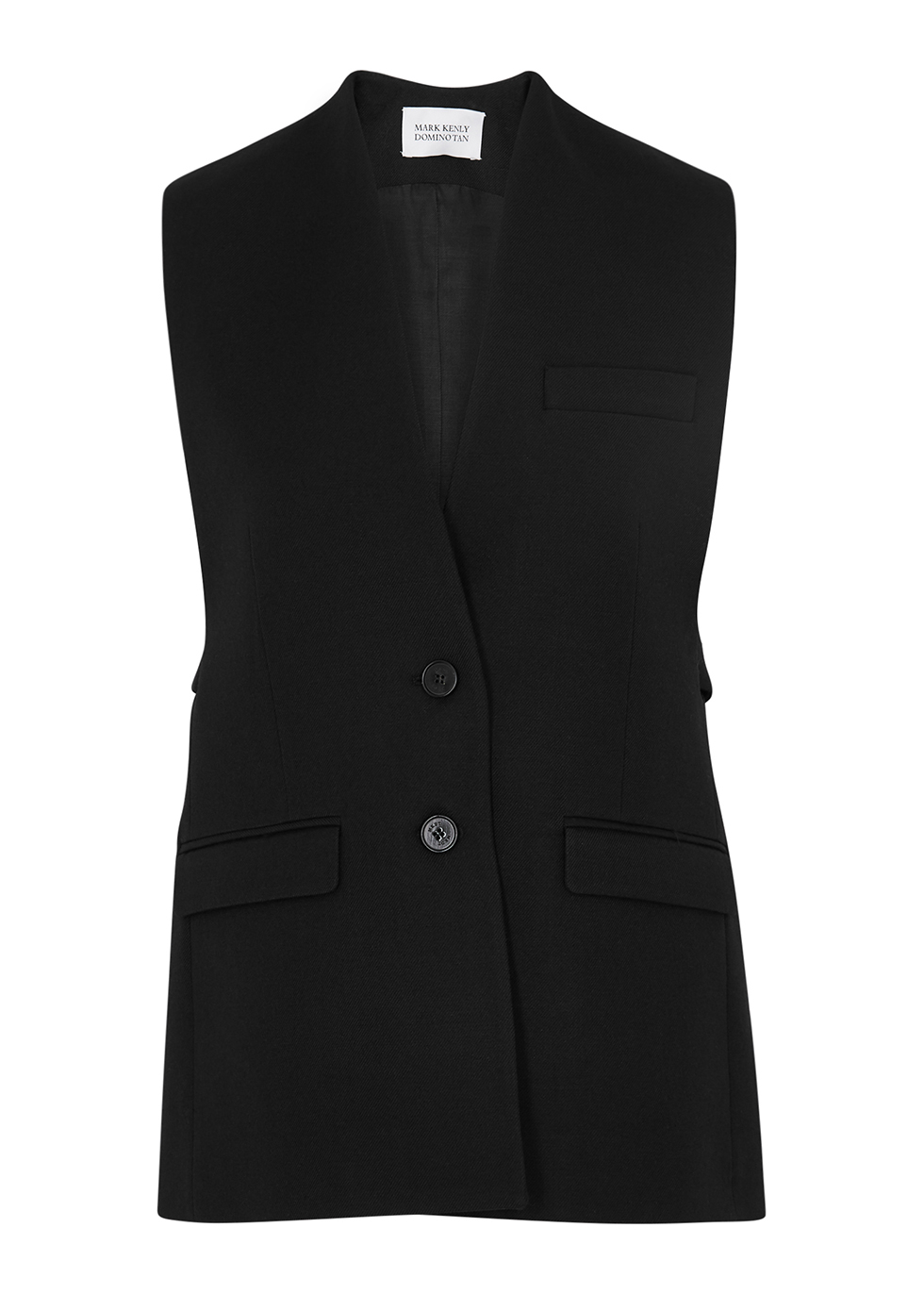 Jill black wool-twill waistcoat