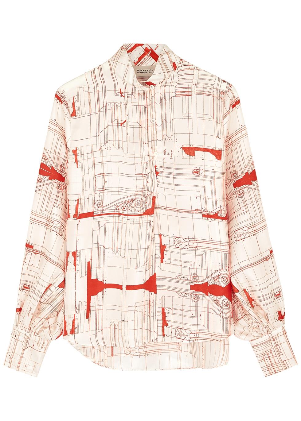 Basha ivory printed silk blouse