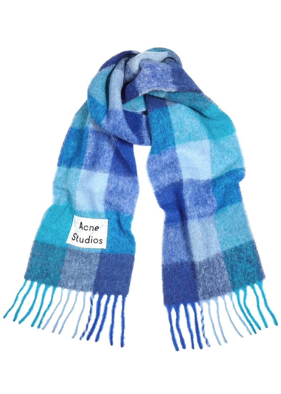 Vally blue alpaca-blend scarf
