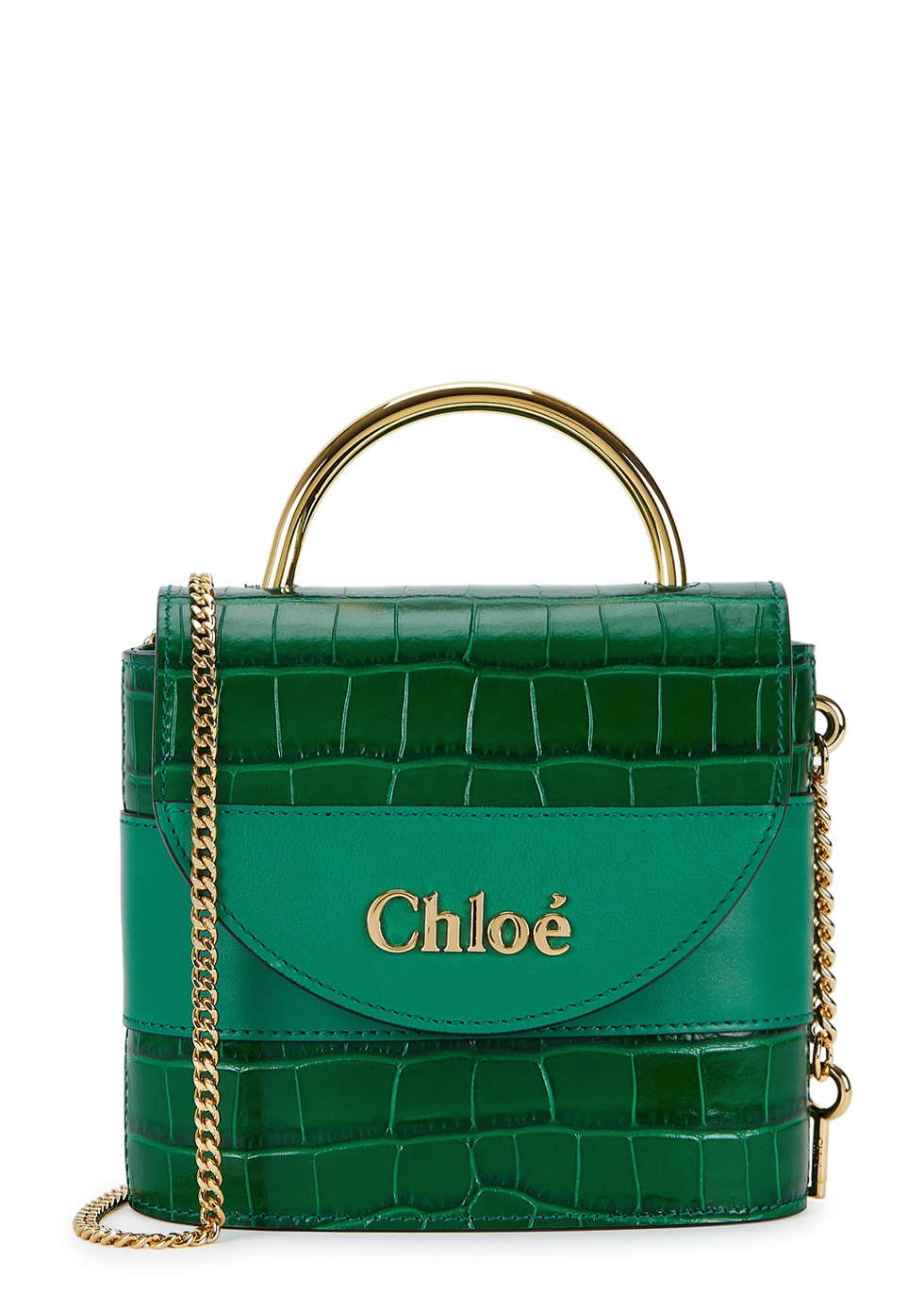 Aby mini green leather cross-body bag