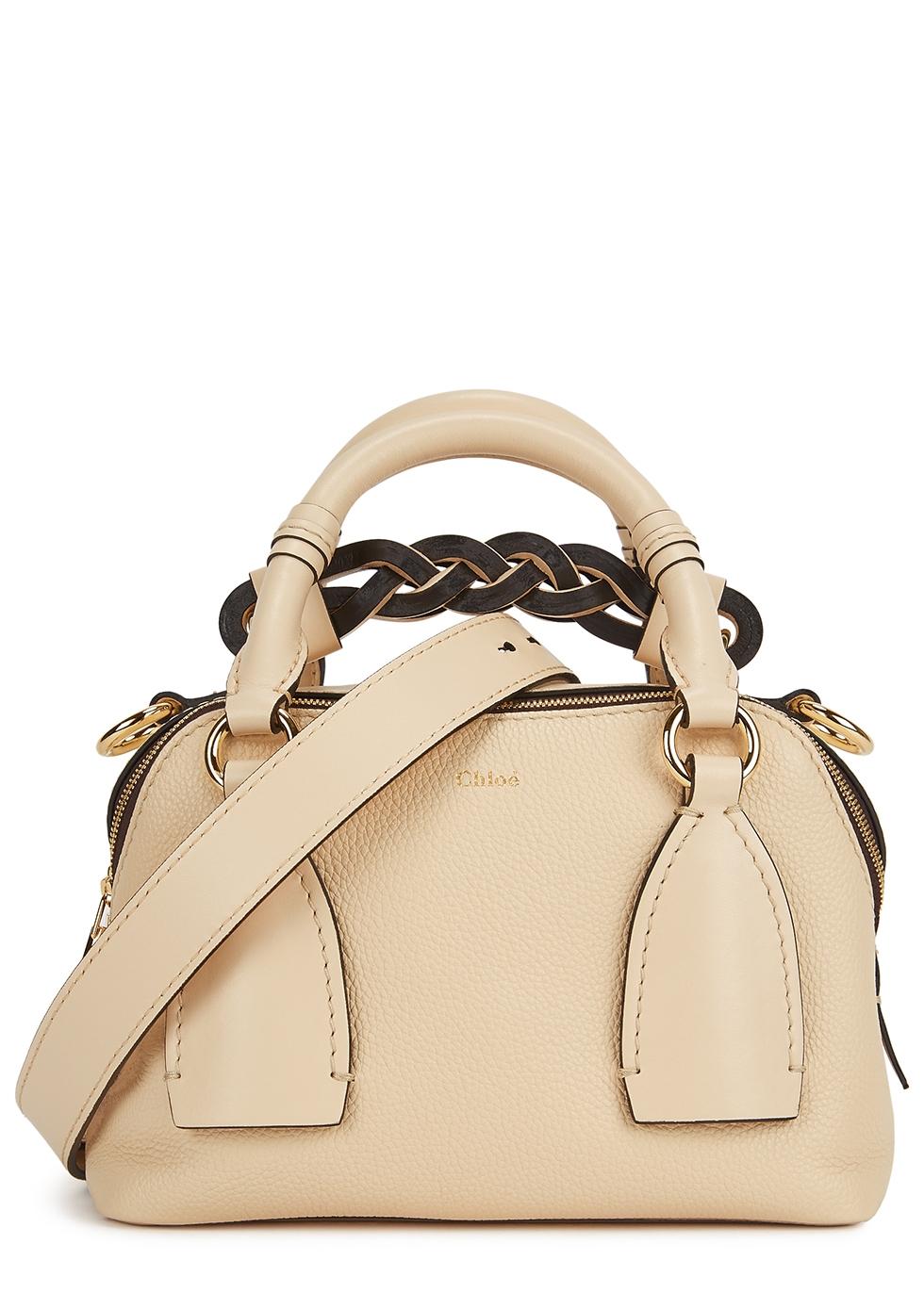 Daria small cream leather shoulder bag