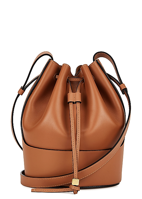 Balloon Small Brown Leather Bucket Bag