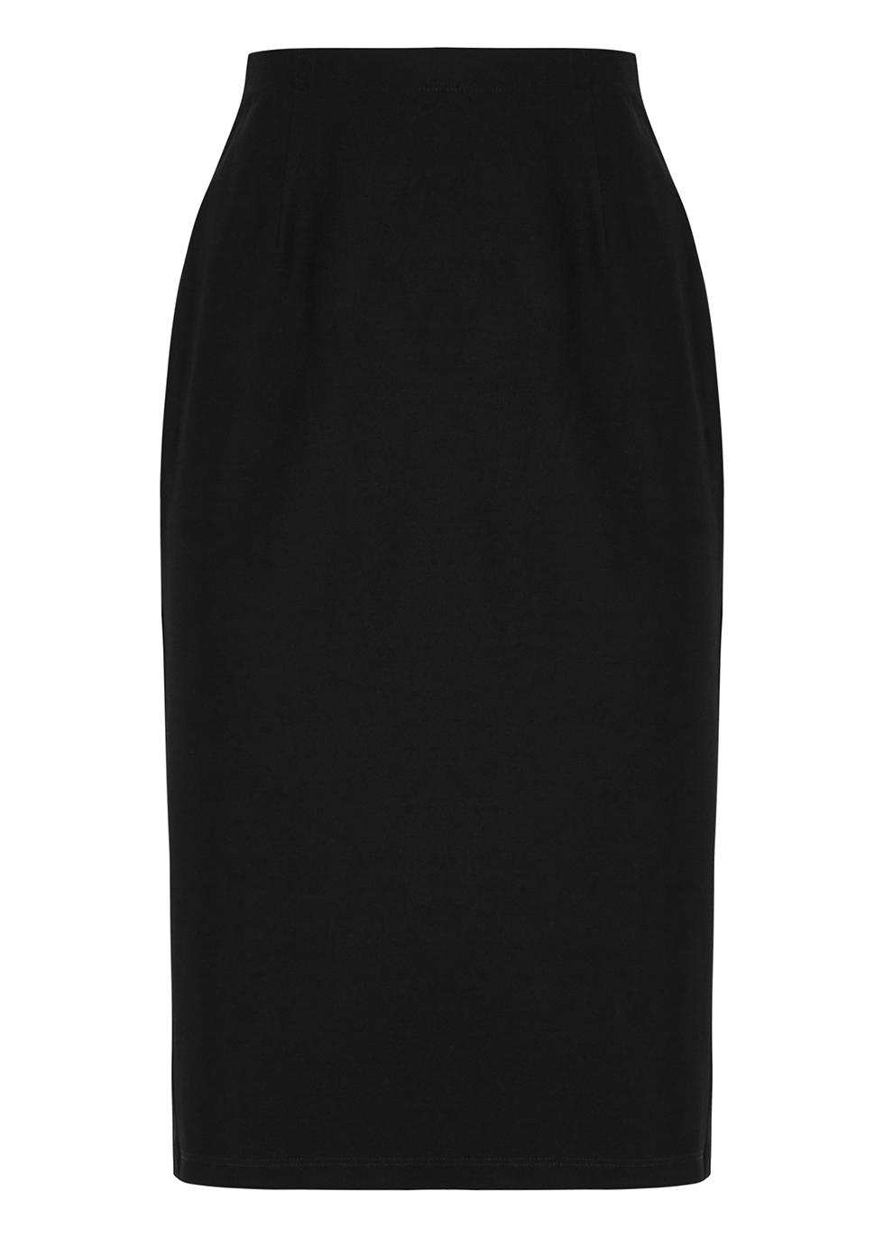 Black high-waisted pencil skirt