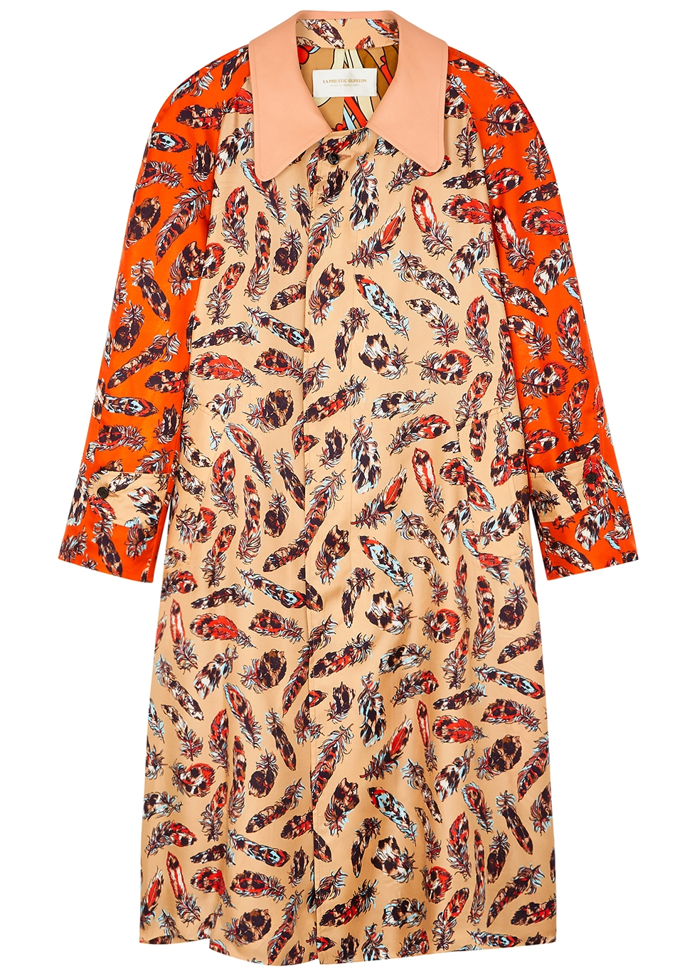 Marceau feather-print silk-twill coat