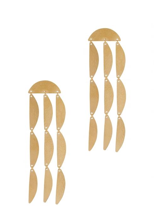 Annie Costello Brown Rain Gold-plated Drop Earrings