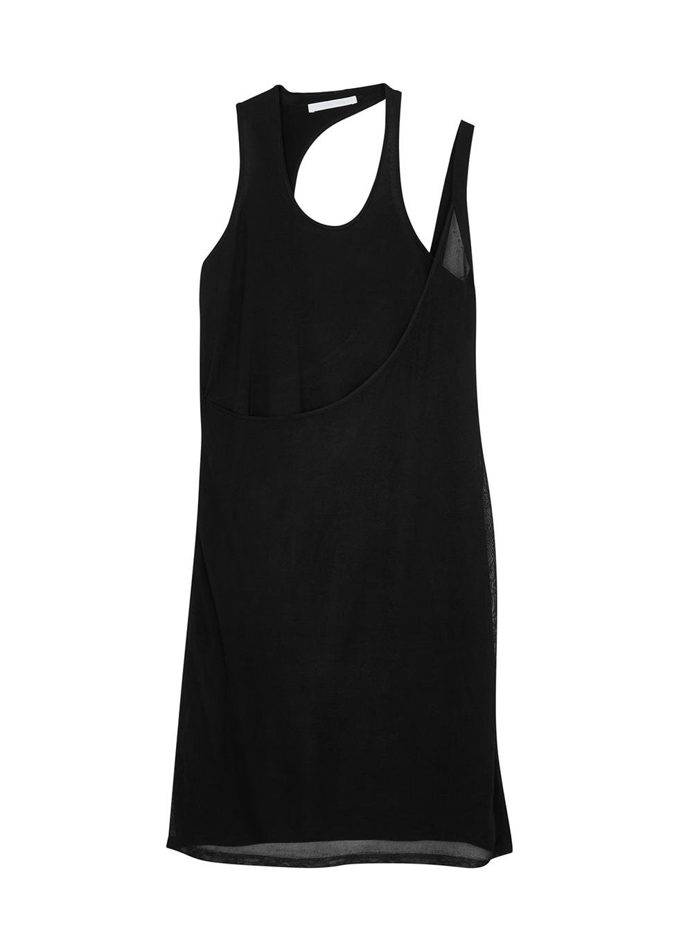 Black rayon-blend mini dress