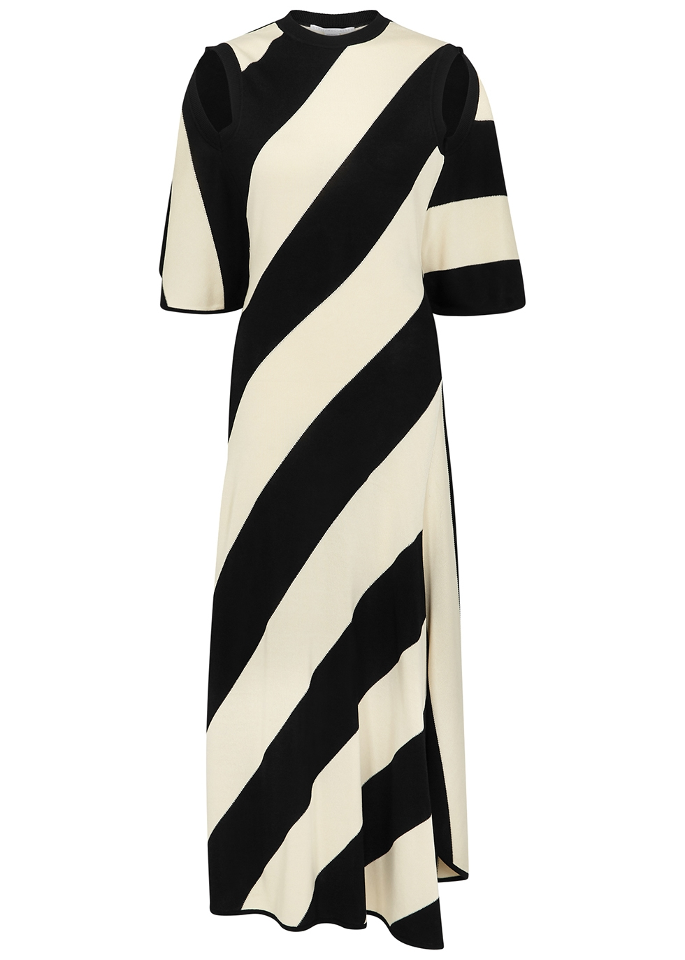 Striped stretch-knit midi dress