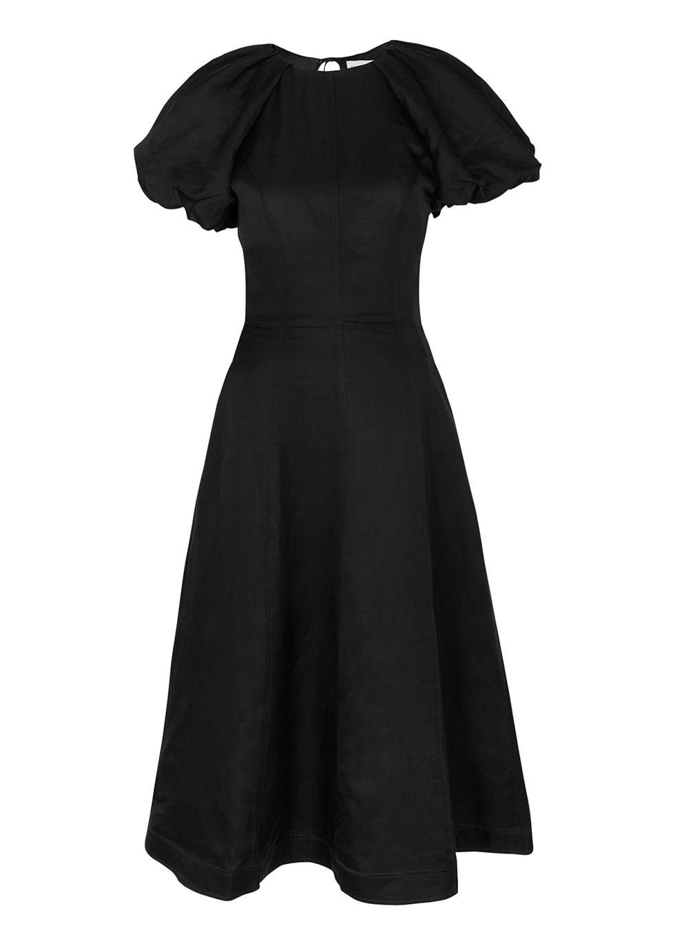 Aimee black puff-sleeve dress