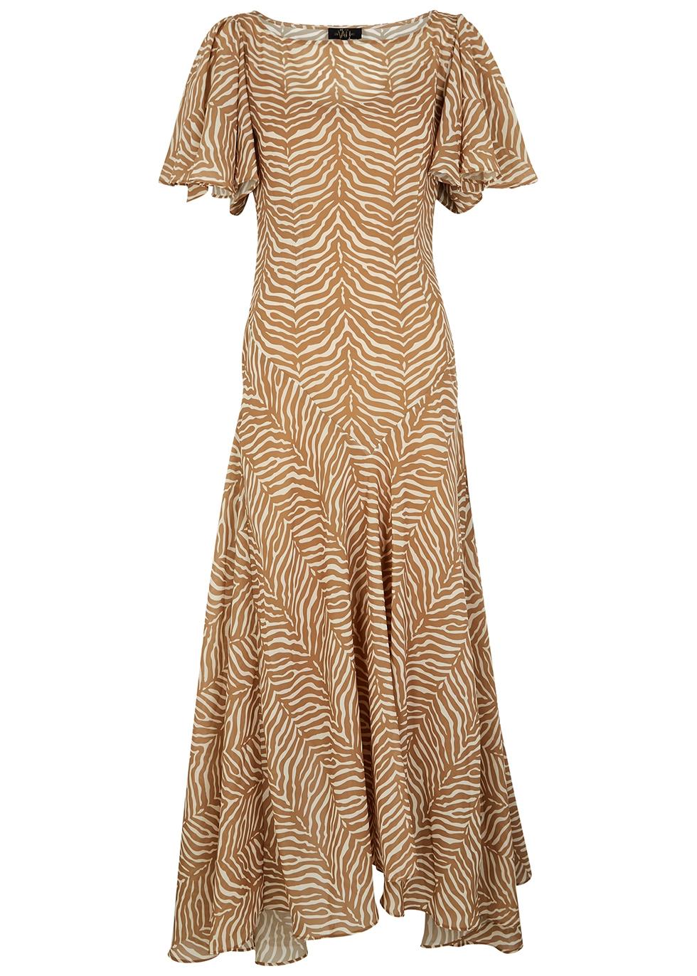 Olivia tiger-print chiffon midi dress