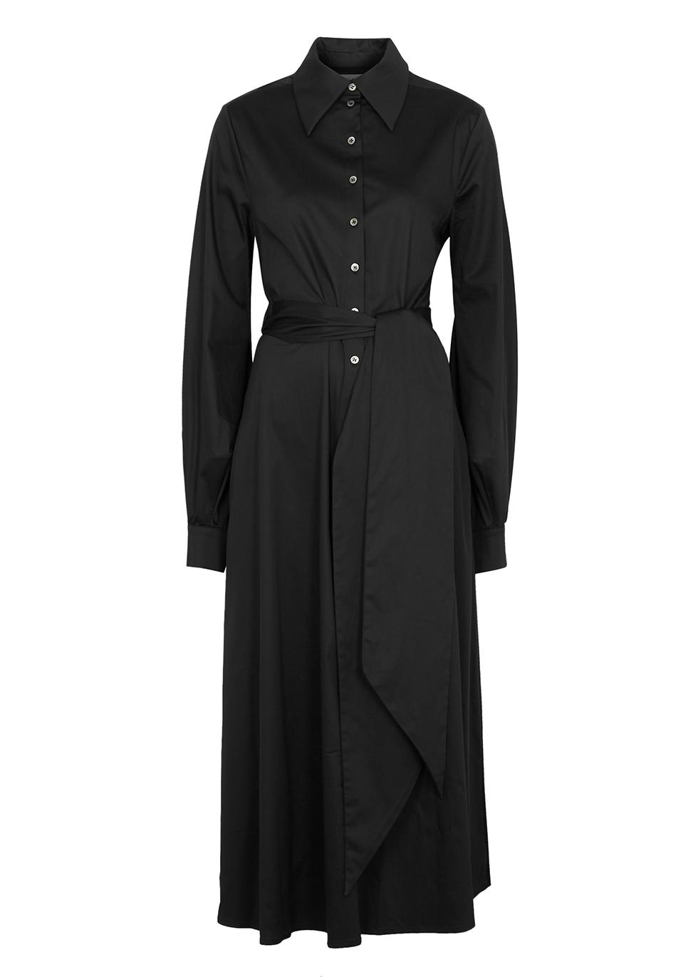 Selman black cut-out stretch-cotton shirt dress