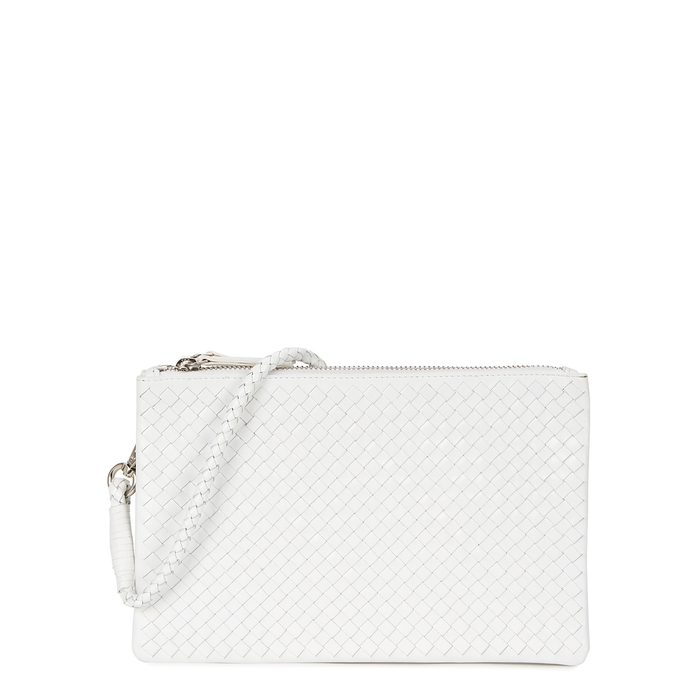 Dragon Diffusion Interlaced Dark Brown Leather Cross-body Bag In White