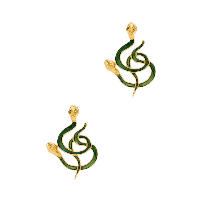 Natia X Lako Gold-plated Snake Drop Earrings In Green