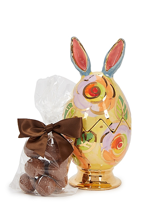 HARVEY NICHOLS Eggs With Ears - Ceramic Easter Egg & Milk Chocolate Truffles