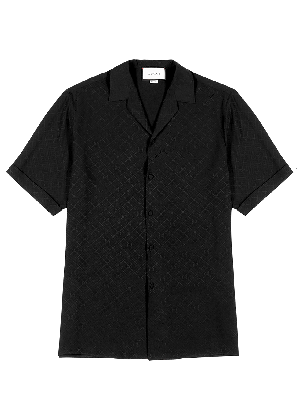 Black GG-jacquard silk shirt