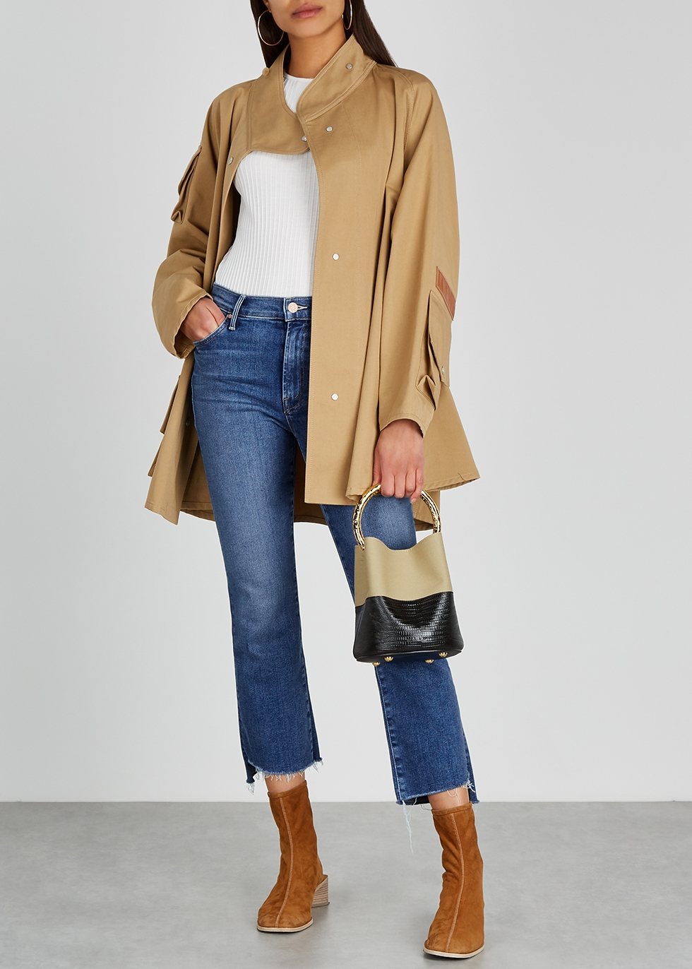 Mother The Insider Crop Step Fray blue jeans Harvey Nichols