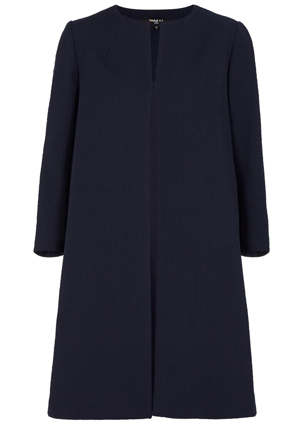 Navy textured cotton-blend coat