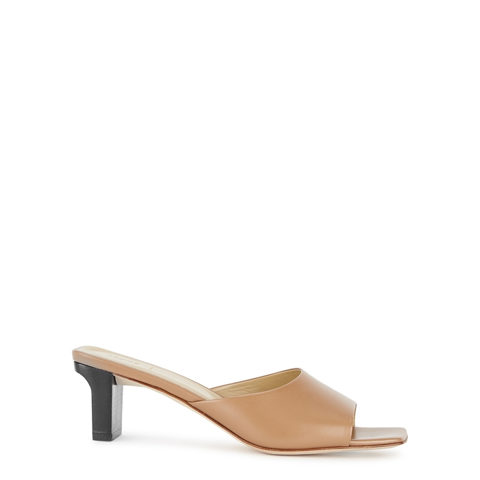Aeyde AEYDE KATTI 65 CAMEL LEATHER MULES