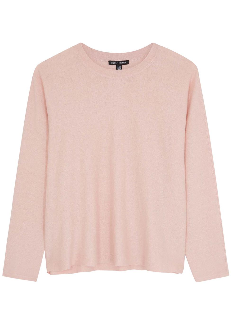 Light pink linen-blend top