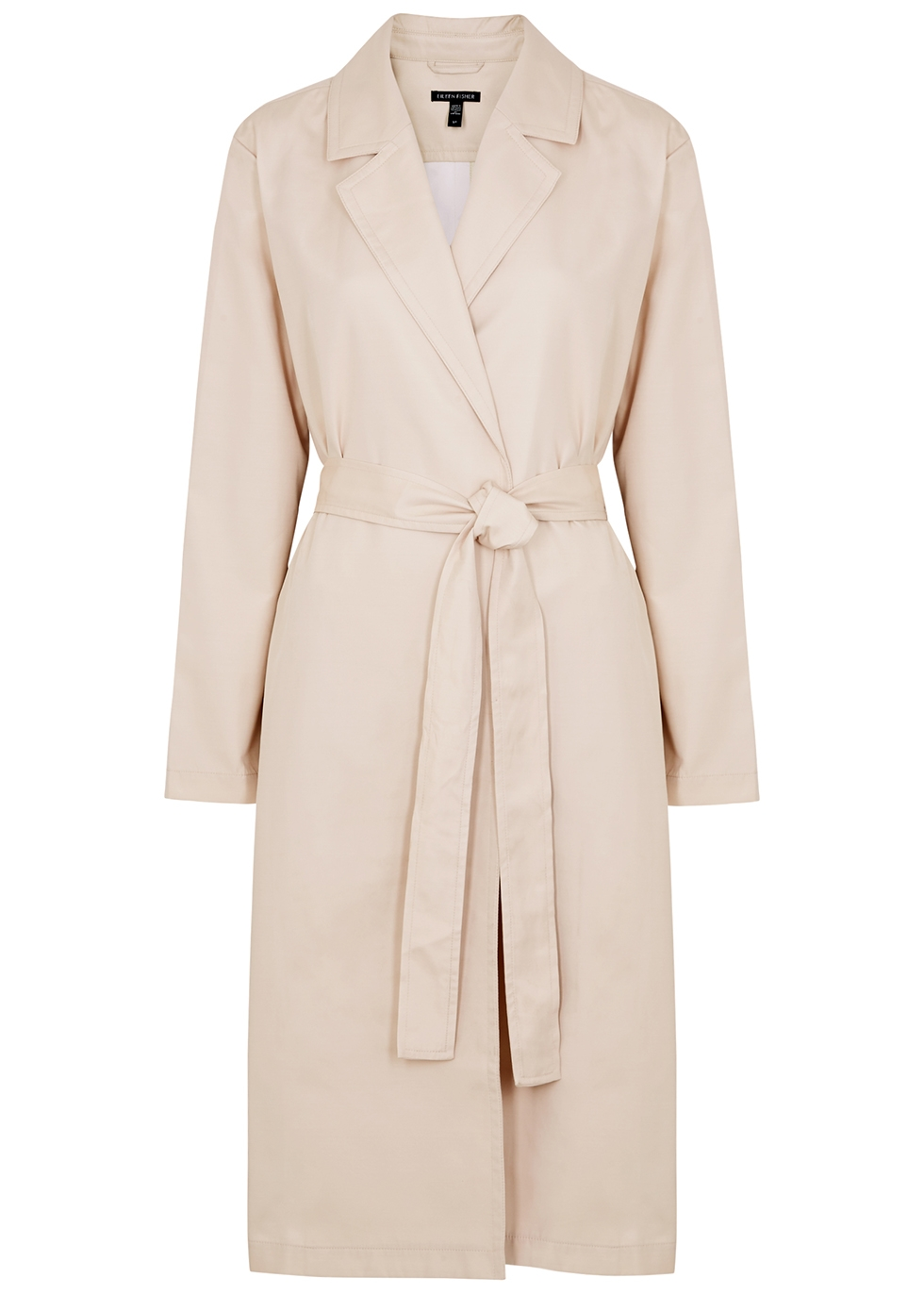 Ecru belted twill trench coat