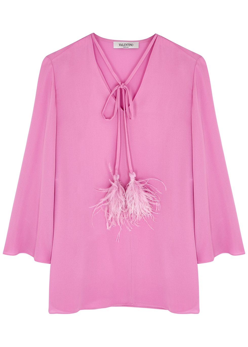 Pink feather-trimmed silk blouse