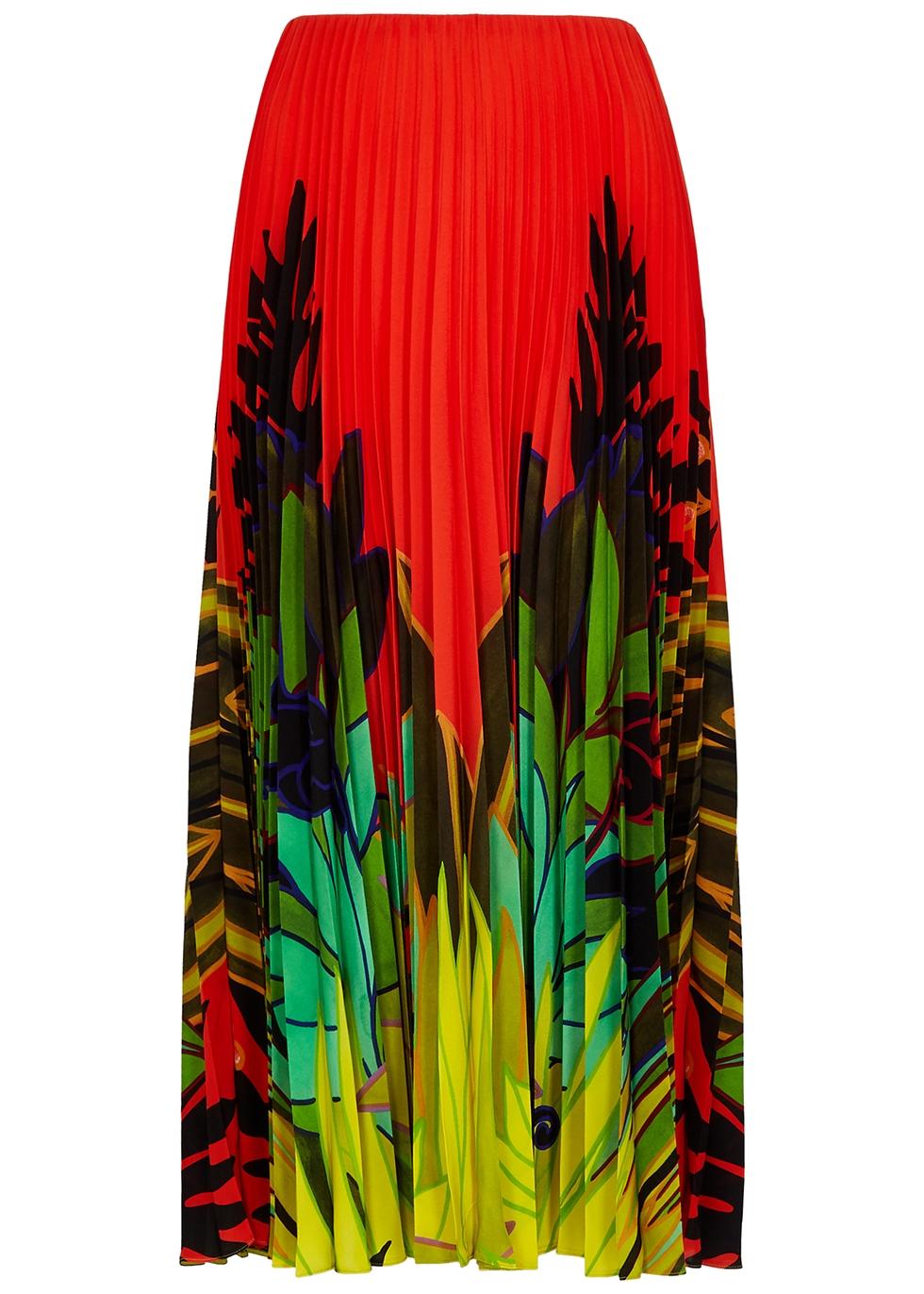 Red printed plissé midi skirt