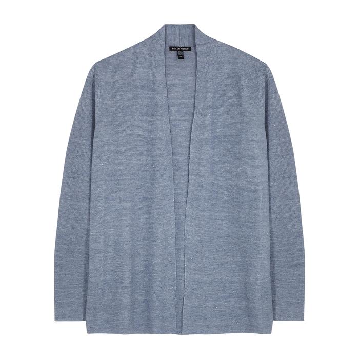 Eileen Fisher Organic Linen Open-front Cardigan, Regular & Petite In Larkspur