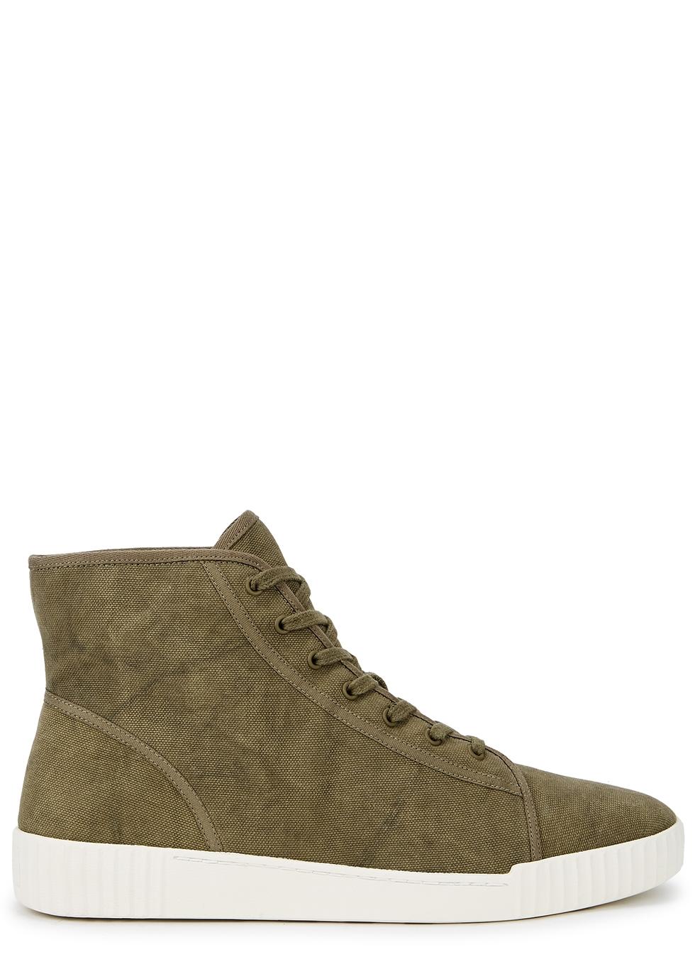 Wolfe dark green canvas hi-top sneakers