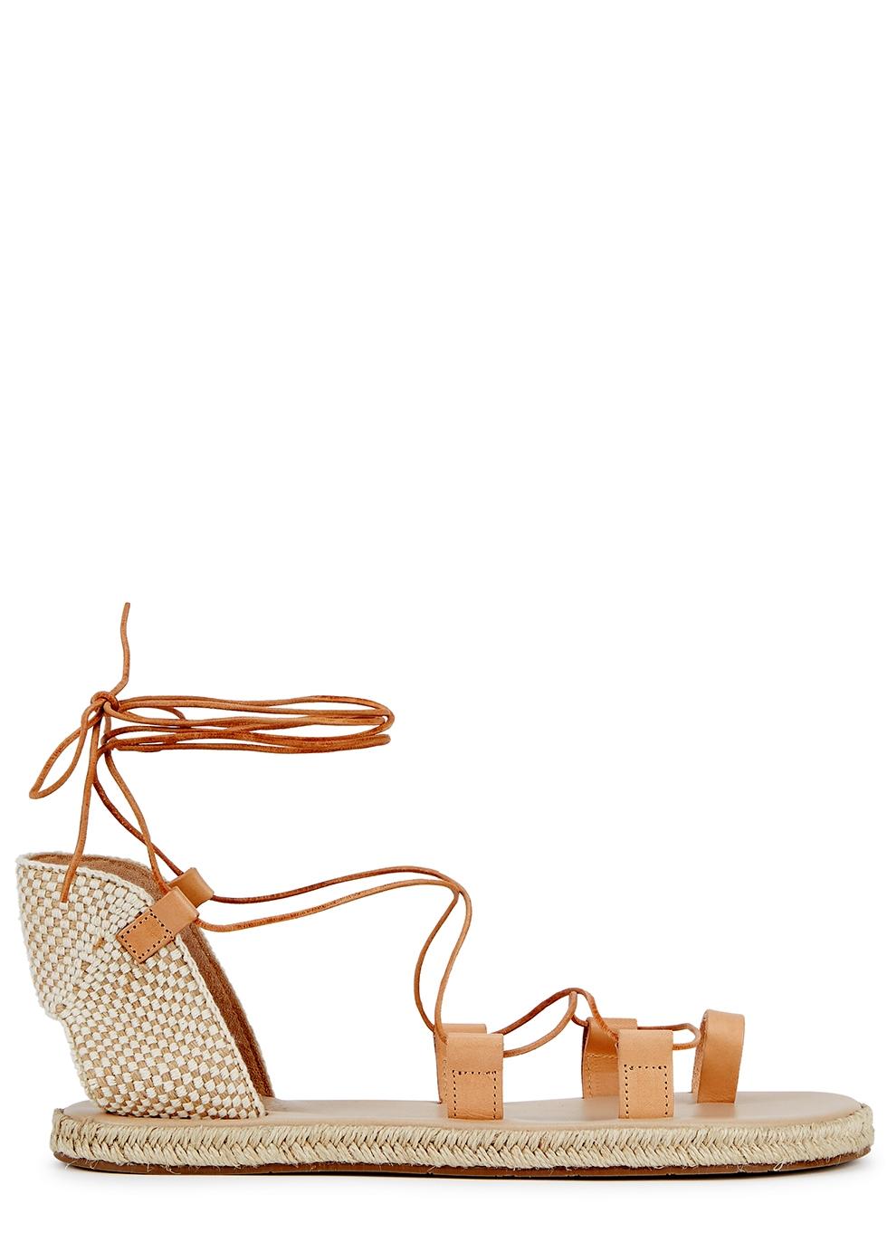Esmeralda blush leather espadrille sandals