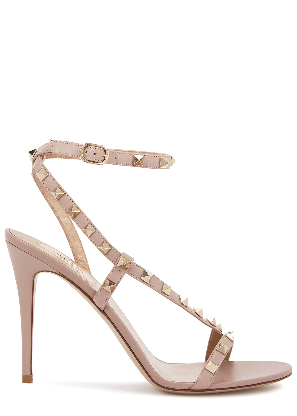 Valentino Garavani Rockstud 100 blush leather sandals