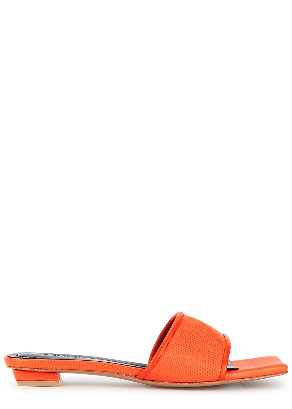 Volure orange lizard-effect mules