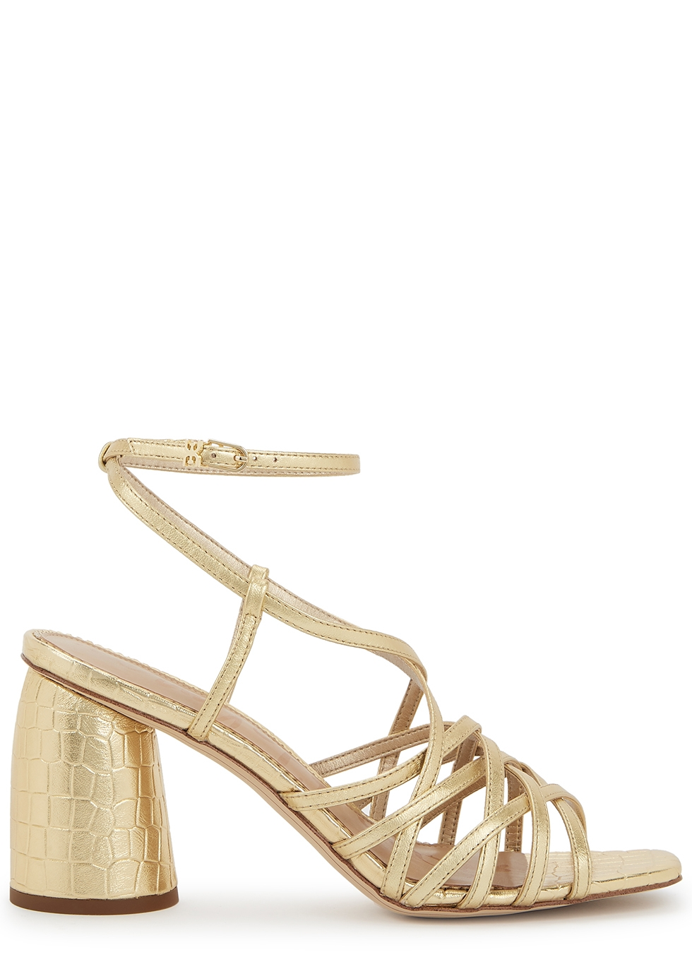 Daffodil 90 gold crocodile-effect sandals