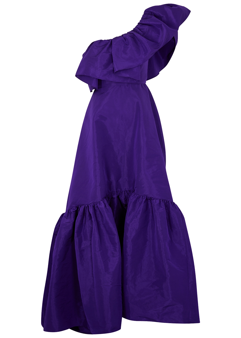 Purple one-shoulder taffeta gown