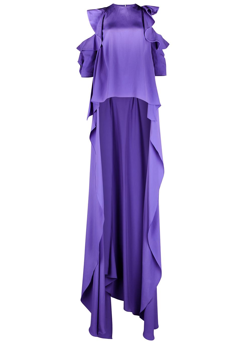 Purple cape-effect crepe de chine top