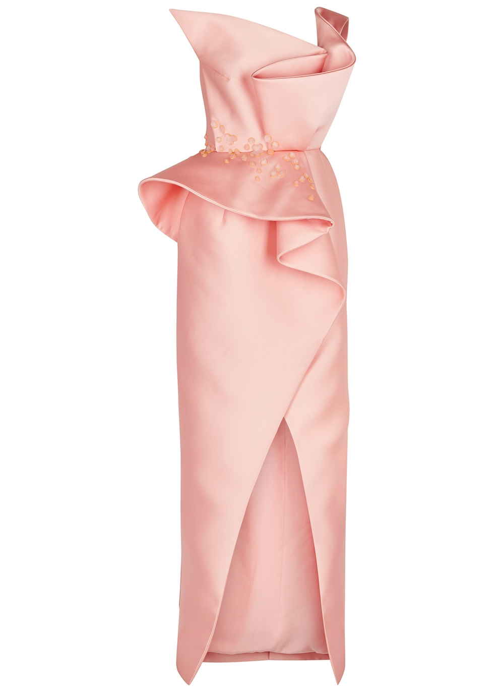 Pink one-shoulder ruffled satin gown