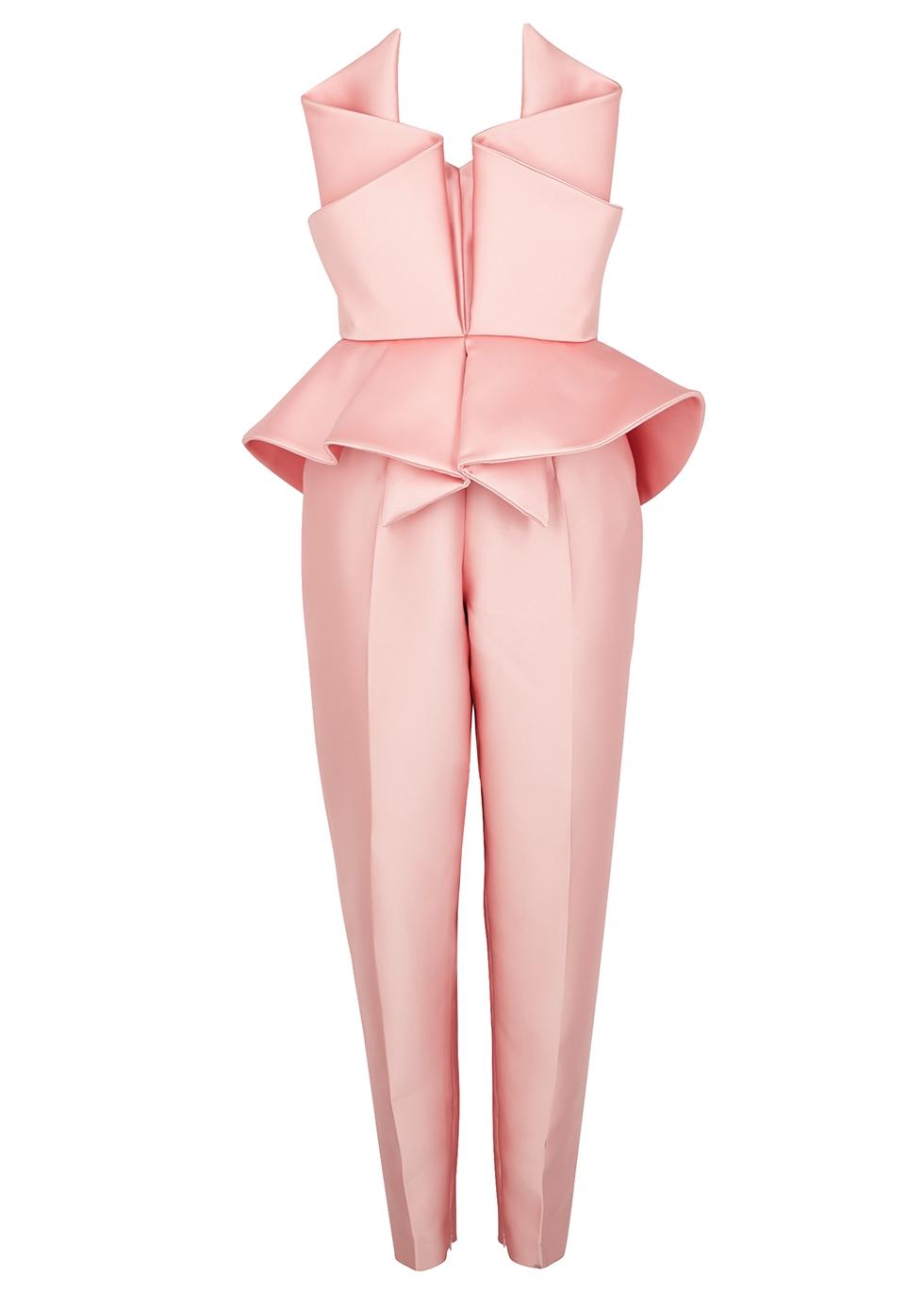 Pink structured satin jumpsuit