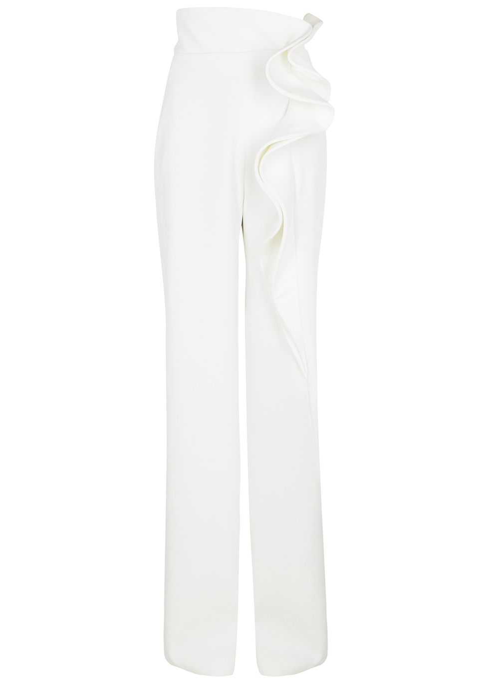 White ruffle-trimmed trousers