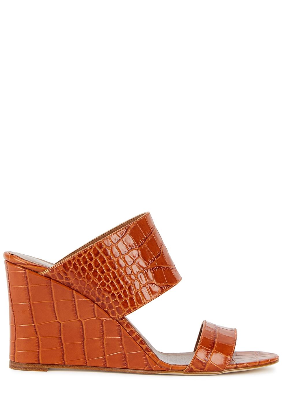 80mm crocodile-effect leather wedge mules