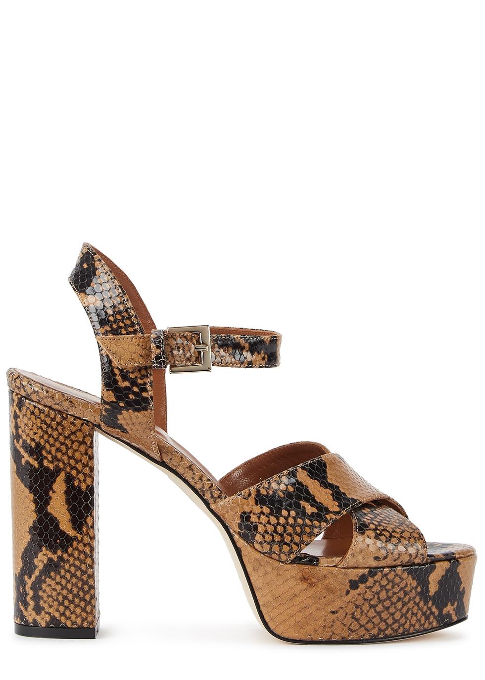 120mm snake-effect platform sandals