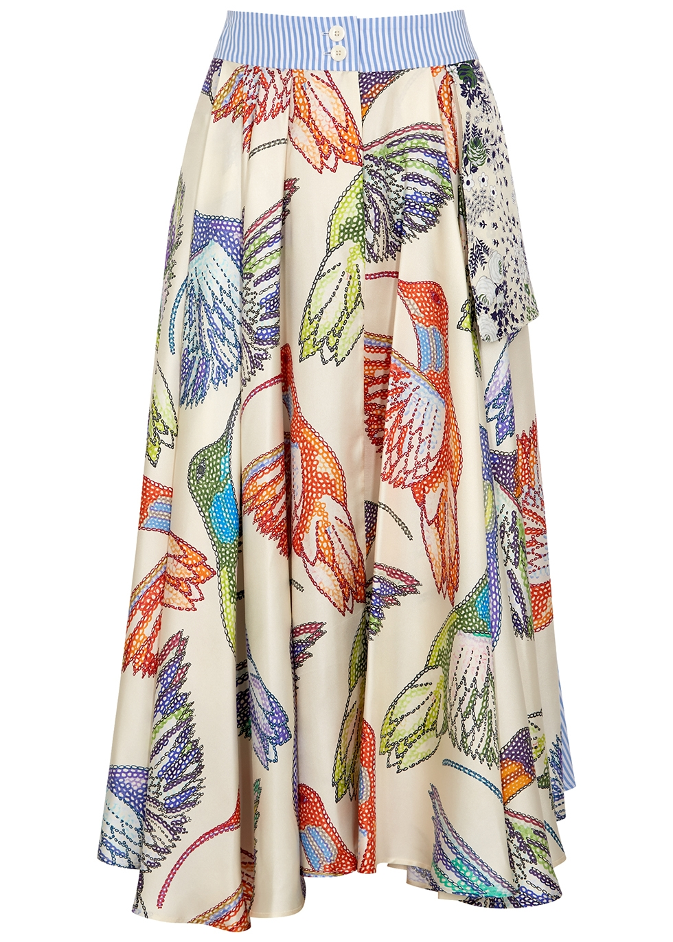 Jupe printed panelled midi skirt