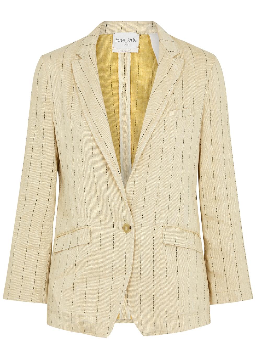 Sand pinstriped linen-blend blazer