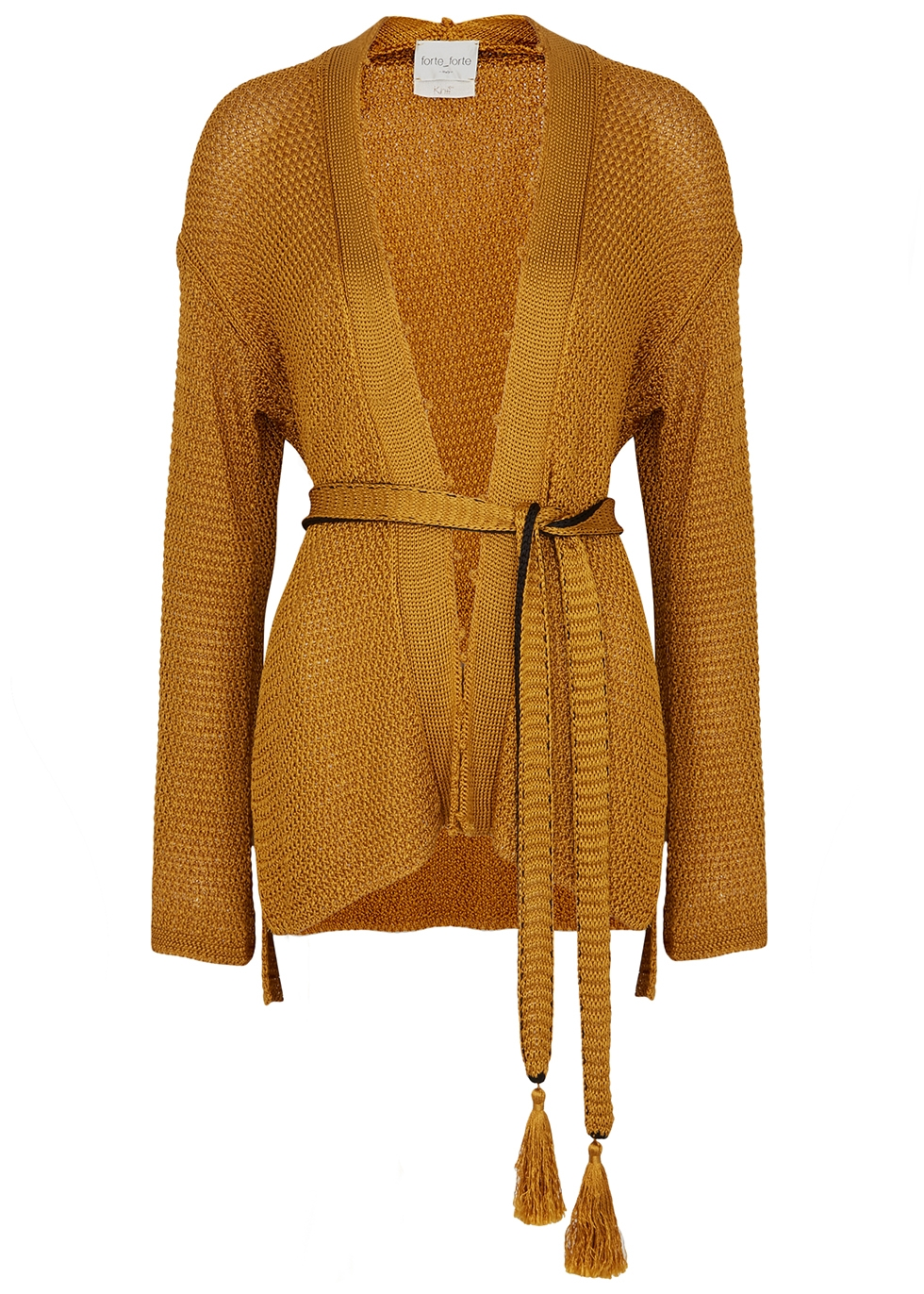 Gold belted cardigan