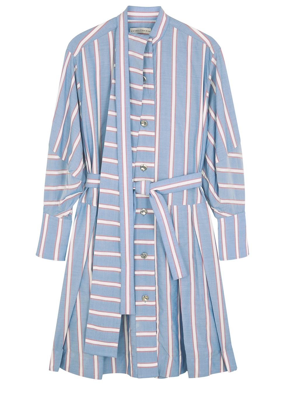 Sara striped Lyocell-blend shirt dress